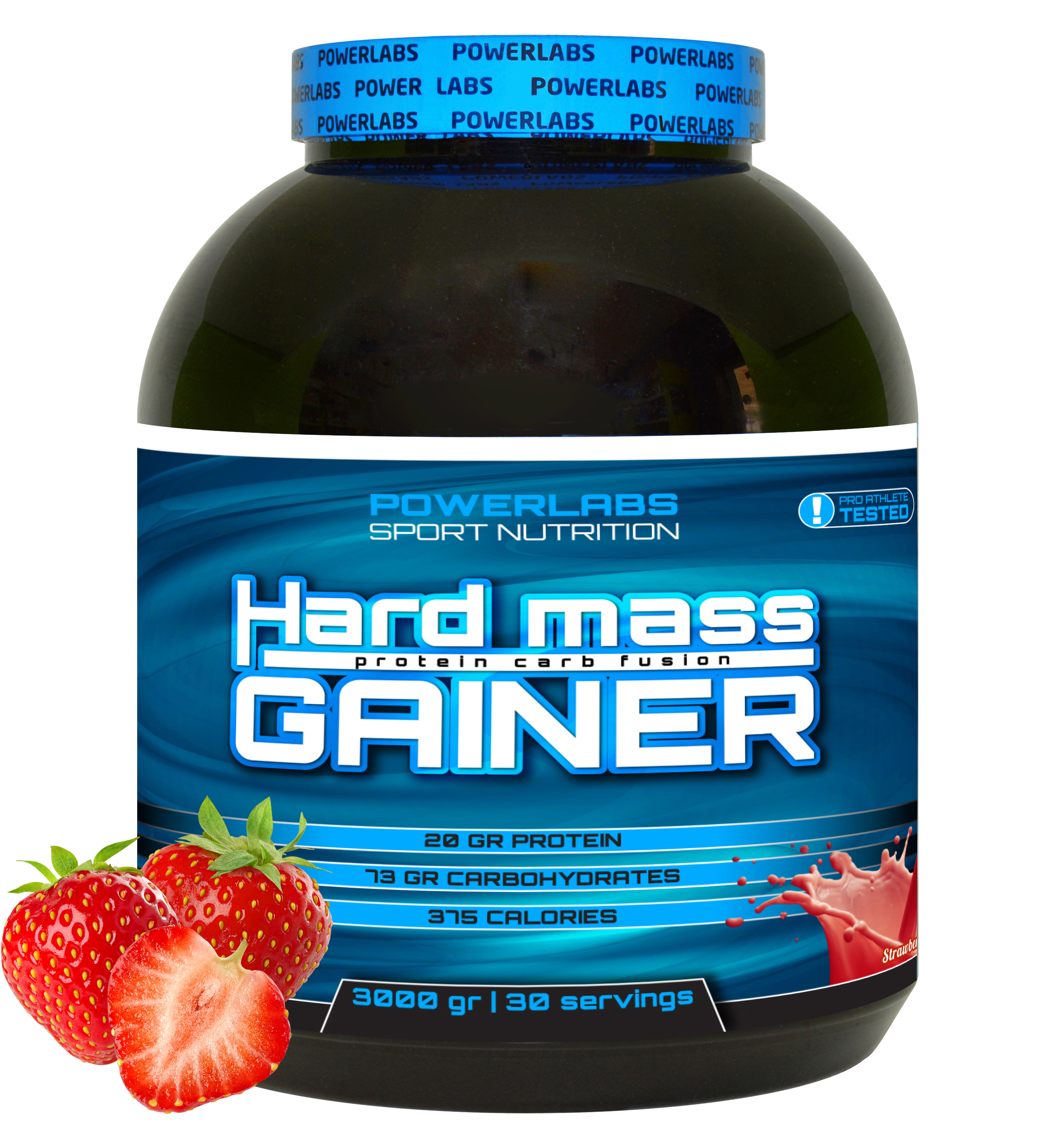 Гейнер PowerLabs Hard Mass Gainer 3000 g Клубника